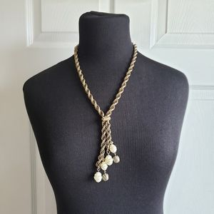 Antique Style Pearl Tassel Rope Chain Necklace